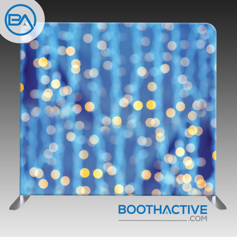 8' x 8' Backdrop - Bokeh - Blue & Gold