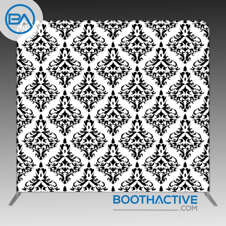 8' x 8' Backdrop - Damask - Black/White