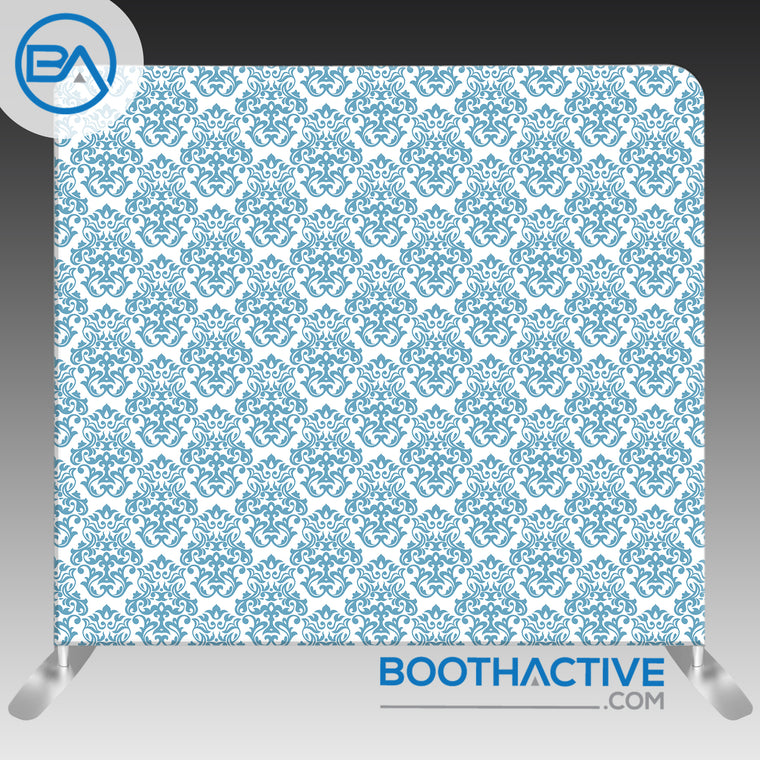 8' x 8' Backdrop - Damask - Blue - BoothActive