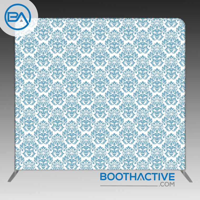 8' x 8' Backdrop - Damask - Blue