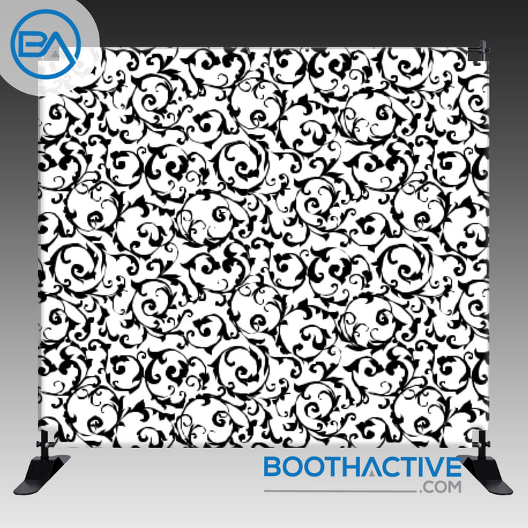 8' x 8' Backdrop - Damask - Black/White2 - BoothActive