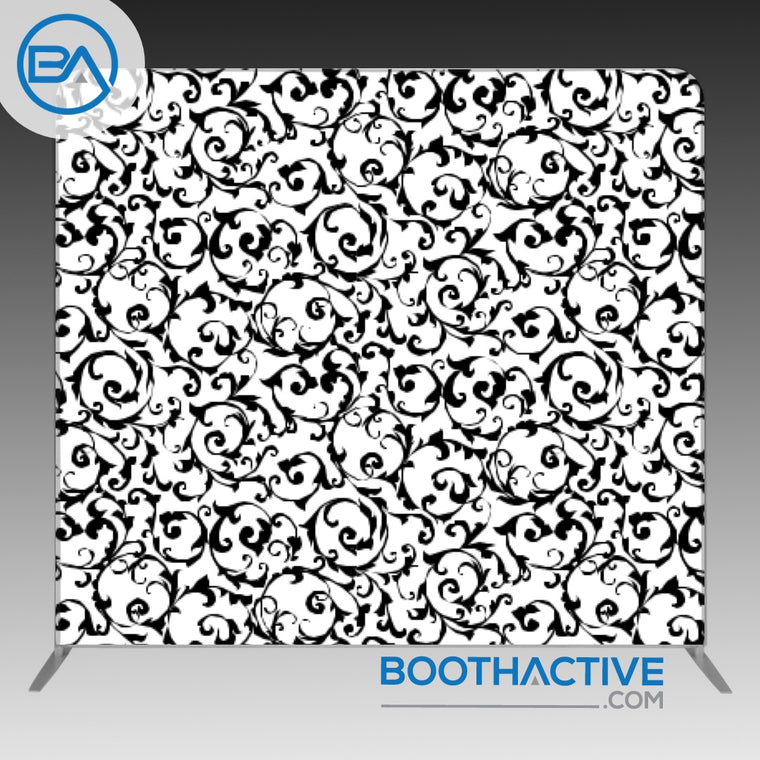 8' x 8' Backdrop - Damask - Black/White2