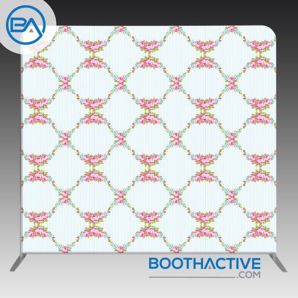 8' x 8' Backdrop - Flowers - Grid - BoothActive