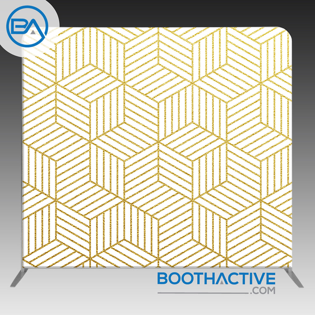 8' x 8' Backdrop - Geometric - Gold - BoothActive