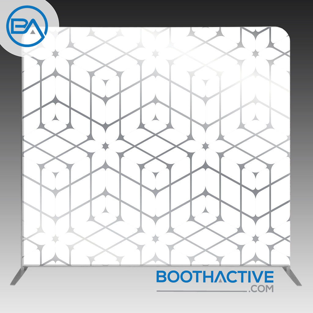 8' x 8' Backdrop - Geometric - Silver - BoothActive
