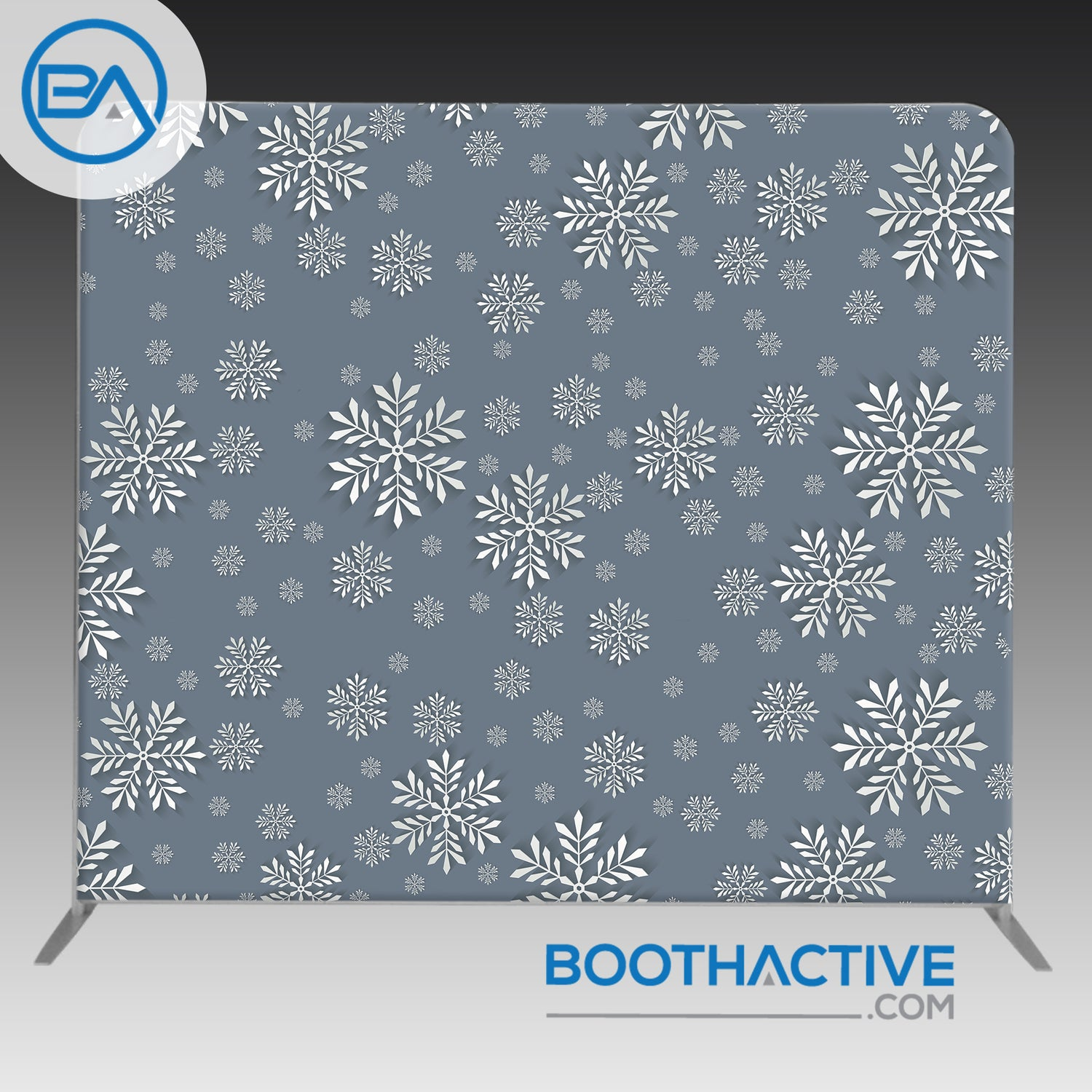 8' x 8' Backdrop - Holiday - 3D Snow - BoothActive