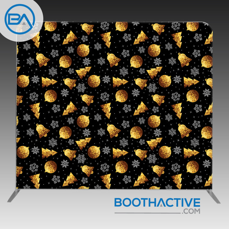 8' x 8' Backdrop - Holiday - Black & Gold