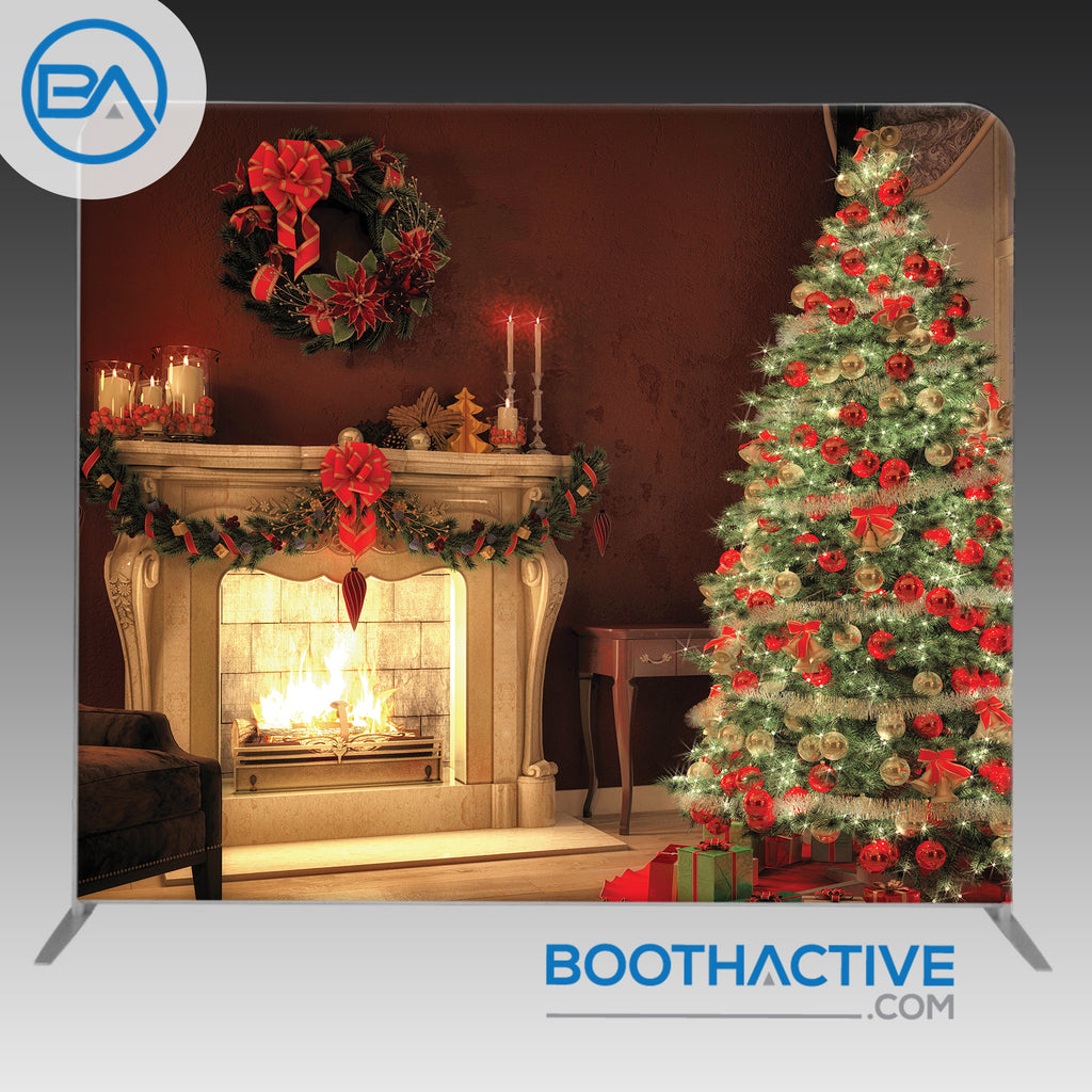 8' x 8' Backdrop - Holiday - Christmas Fireplace - BoothActive
