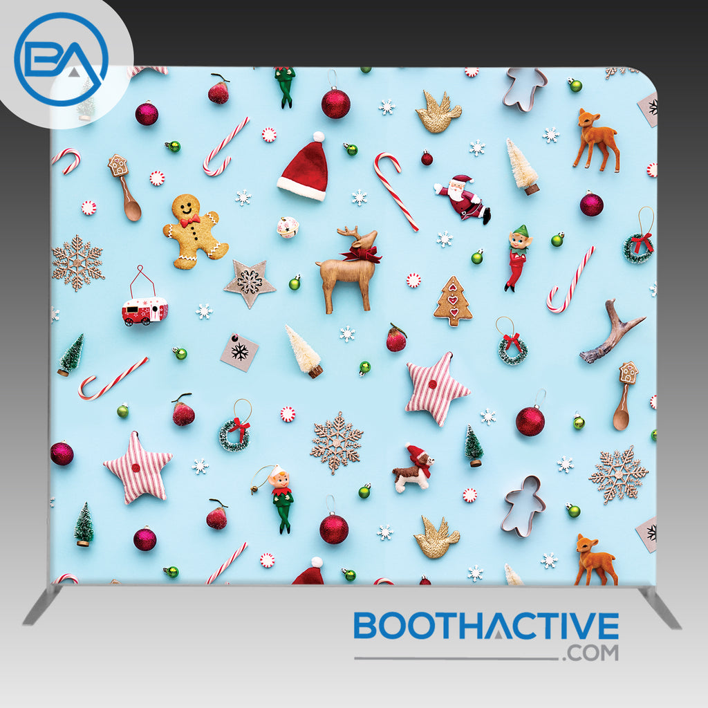8' x 8' Backdrop - Holiday - Christmas Objects - BoothActive