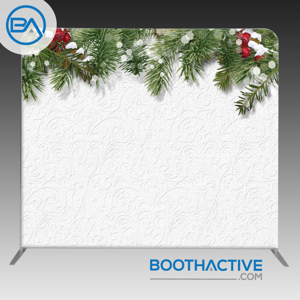 8' x 8' Backdrop - Holiday - Holly - BoothActive