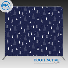 8' x 8' Backdrop - Holiday - Navy Trees - BoothActive
