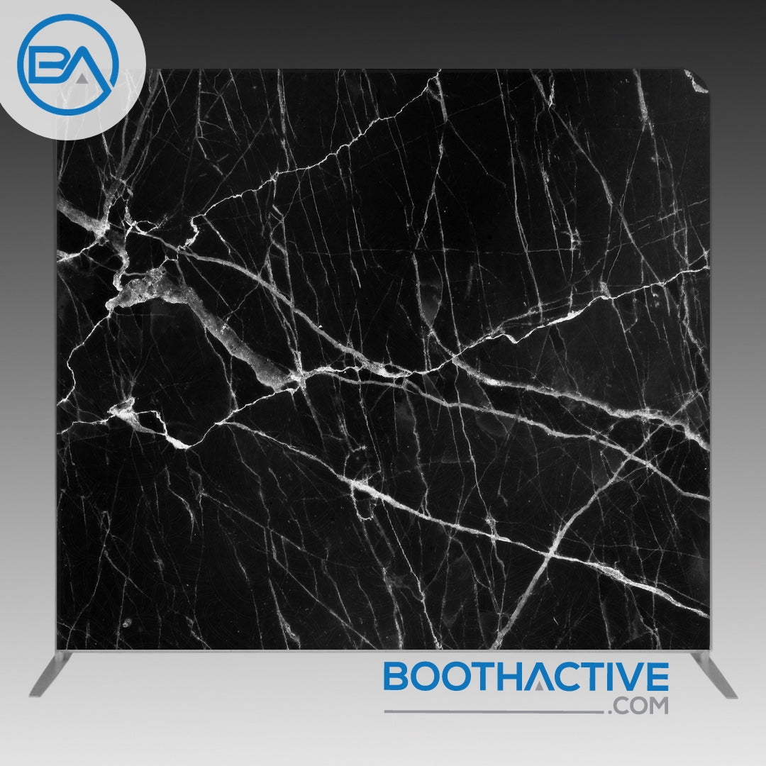 8' x 8' Backdrop - Marble - Black - BoothActive