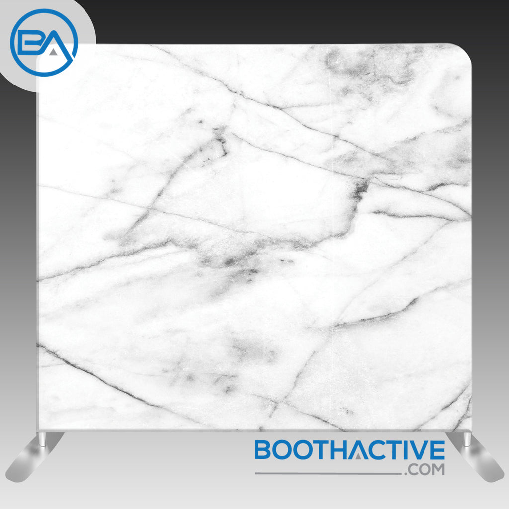 8' x 8' Backdrop - Marble - White - BoothActive
