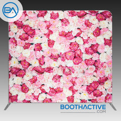 8' x 8' Backdrop - Flowers - Pink Peonies - BoothActive