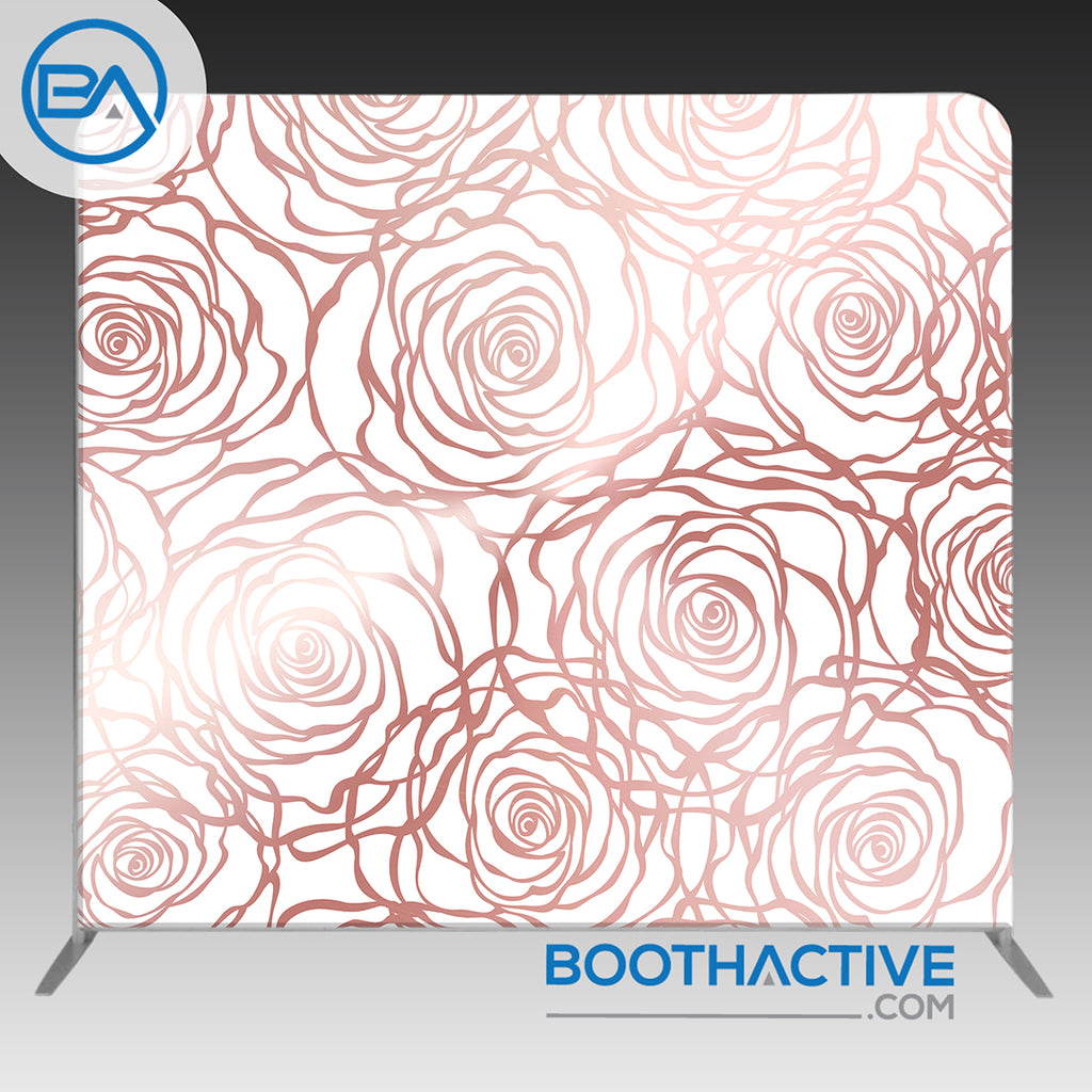8' x 8' Backdrop - Flowers - Rose Gold - BoothActive