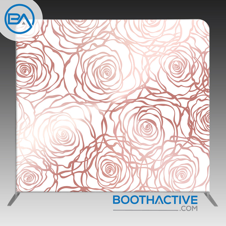 8' x 8' Backdrop - Flowers - Rose Gold