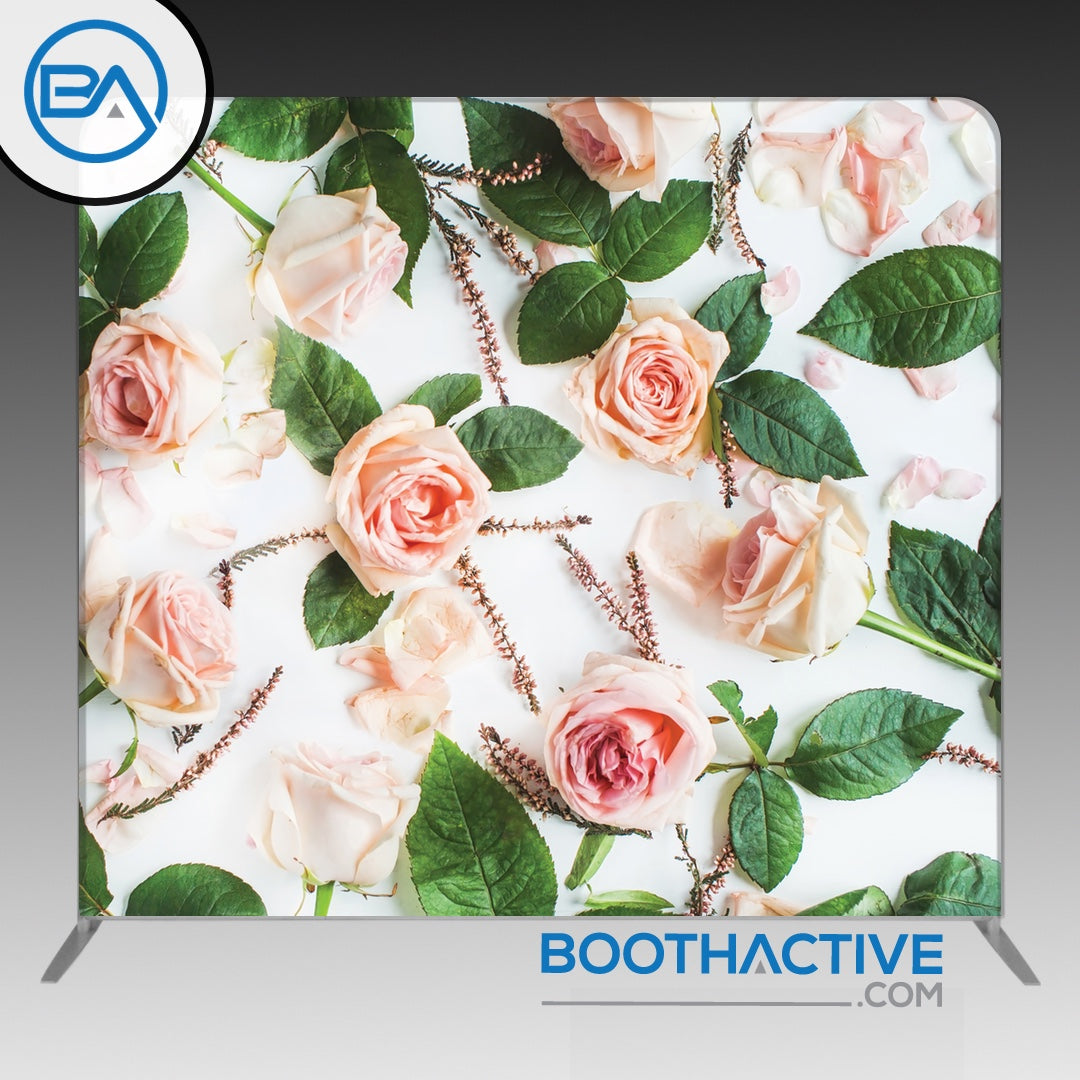 8' x 8' Backdrop - Roses - Pink/White - BoothActive