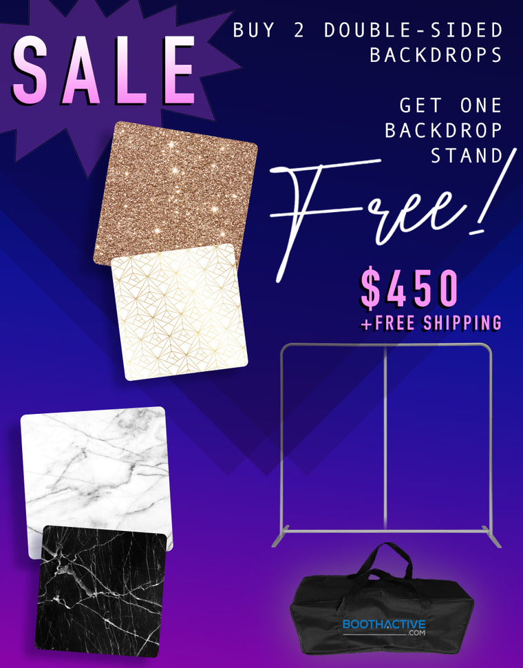 Get 2 DOUBLE SIDED 8' x 8' Backdrops + FREE Frame Bundle