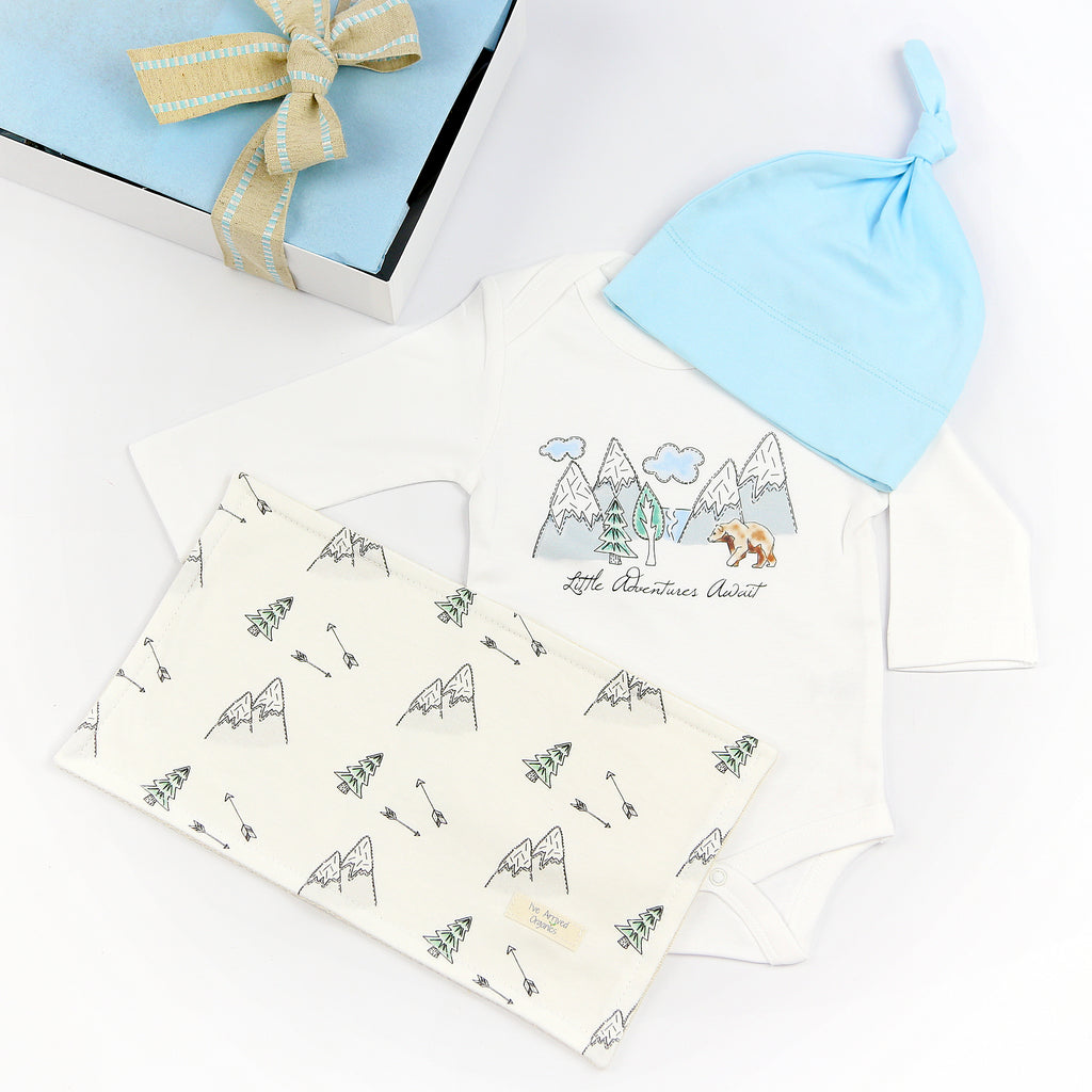 Organic Coming Home Baby Gift Box Baby Boy Little Adventure's Await Theme