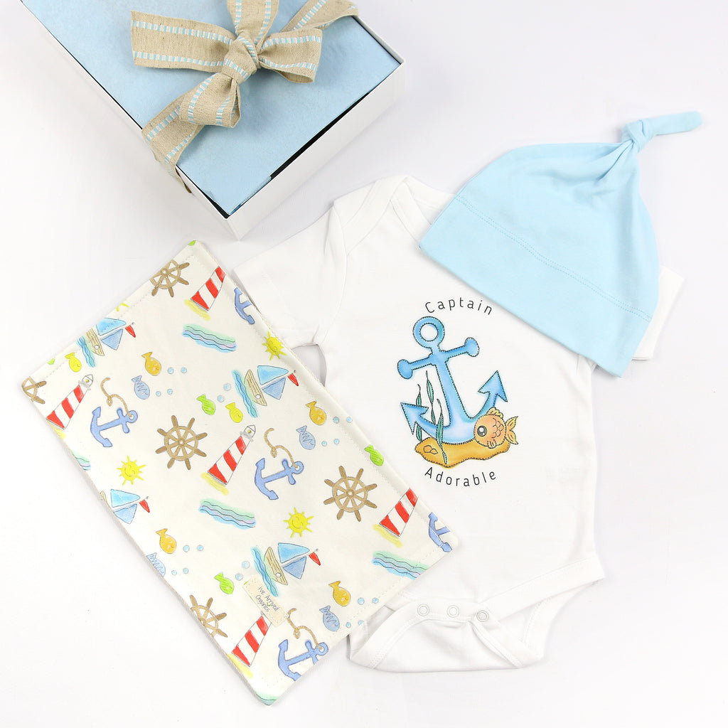 Organic Coming Home Baby Gift Box Baby Boy Anchor Captain Adorable Theme