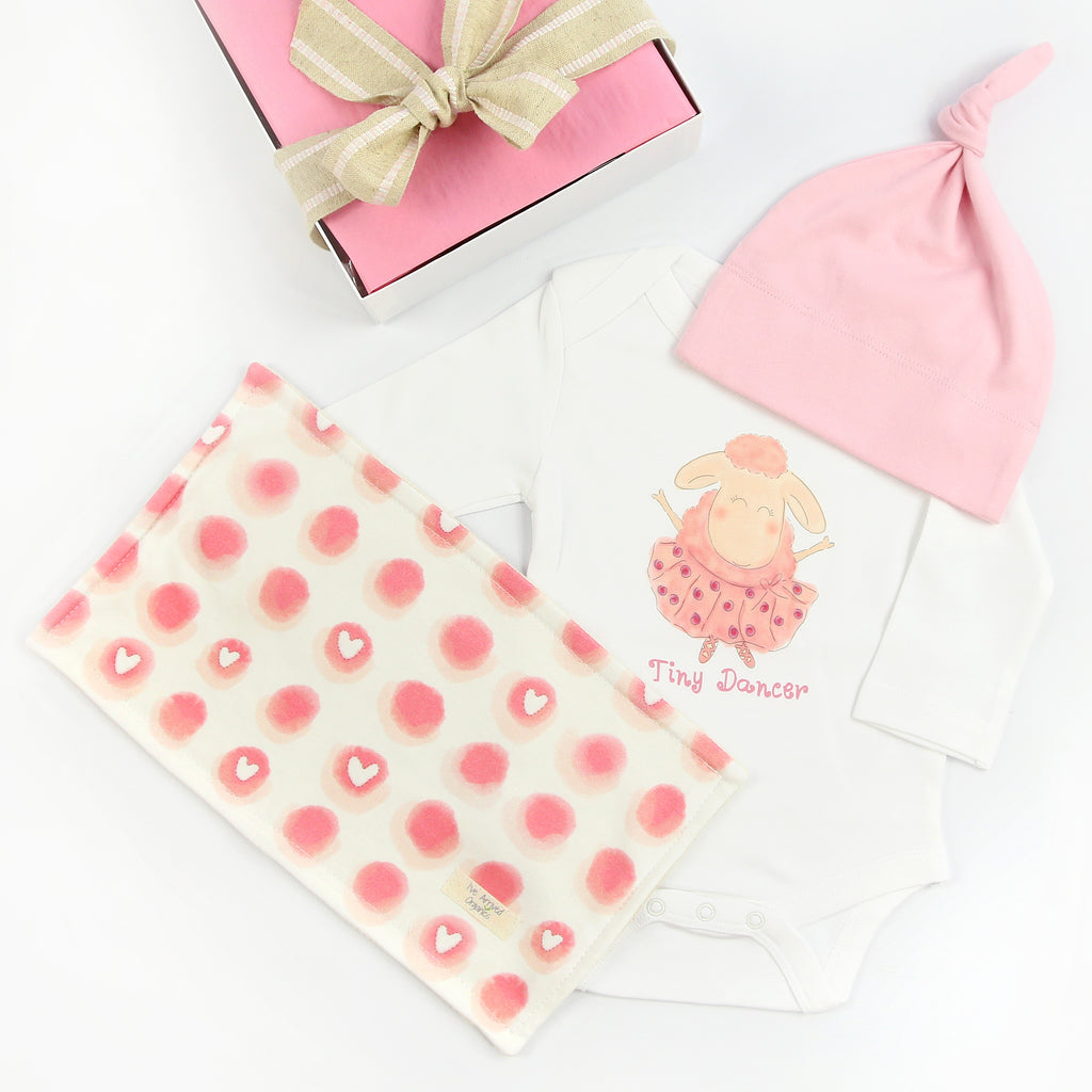 Organic Coming Home Baby Gift Box Baby Girl Tiny Dancer Ballerina Lamb Theme
