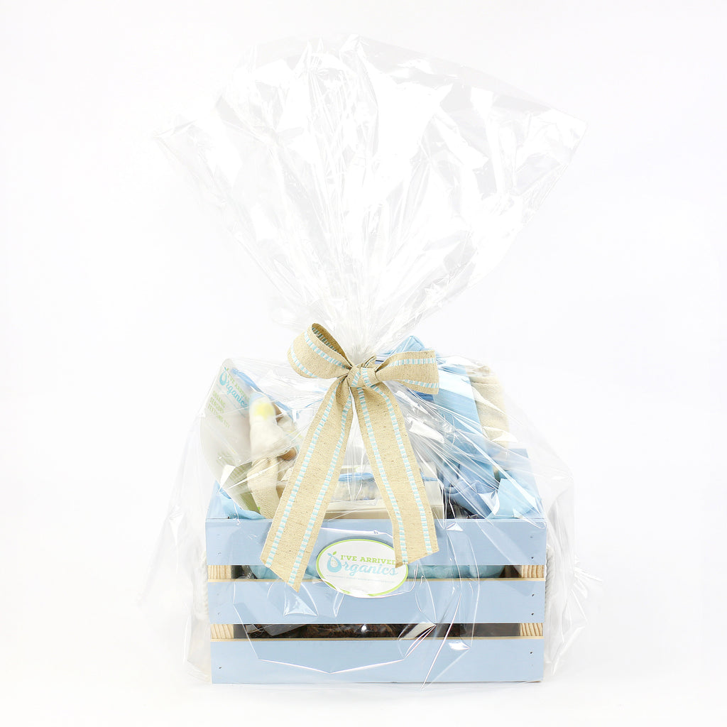 Organic Coming Home Baby Gift Basket Baby Boy Little Adventure's Await Theme