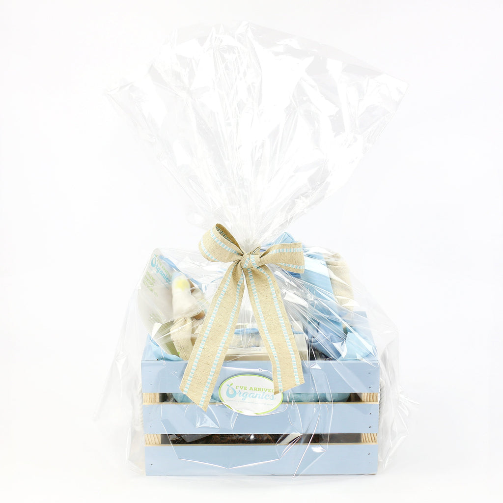 Organic Coming Home Baby Gift Basket Baby Boy Elephant Hello World Theme