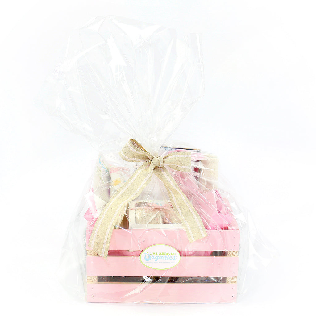 Organic Coming Home Baby Gift Basket Baby Girl Little and Lovely Hearts Theme