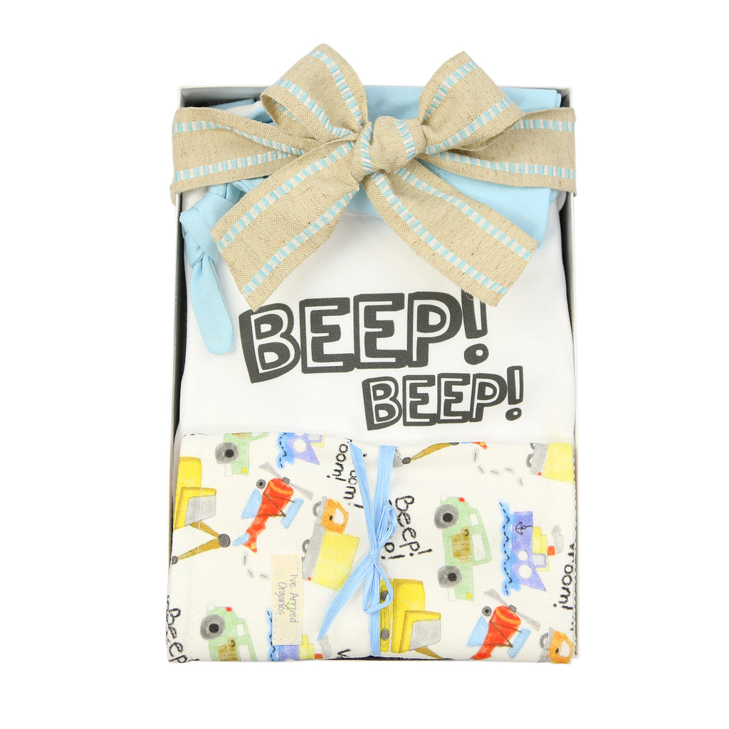 Organic Coming Home Baby Gift Box Baby Boy Things in Motion Beep Beep Theme