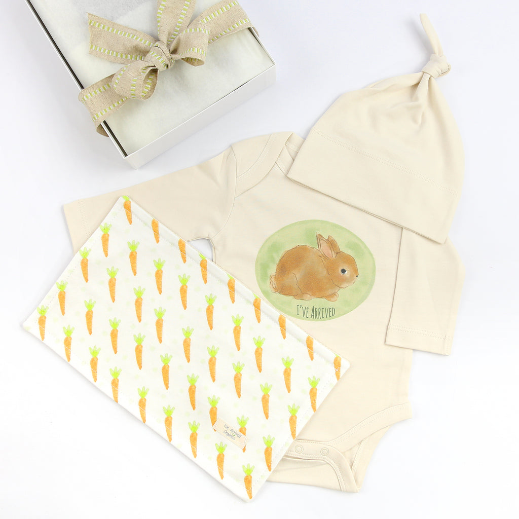 Organic Coming Home Baby Gift Box Baby Gender Neutral Bunny I've Arrived Theme