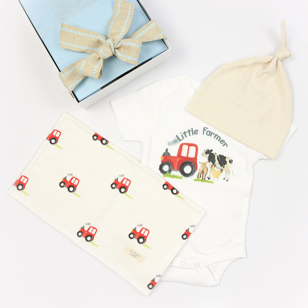 Organic Coming Home Baby Gift Box Baby Boy Tractor Farm Theme