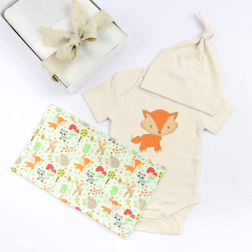 Organic Coming Home Baby Gift Box Baby Gender Neutral Fox Theme