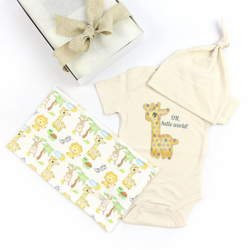 Organic Coming Home Baby Gift Box Baby Gender Neutral Giraffe Oh, Hello World Theme