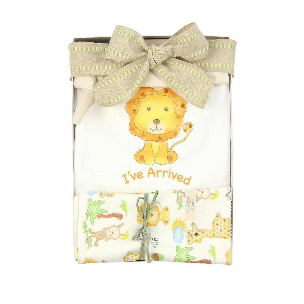 Organic Coming Home Baby Gift Box Baby Gender Neutral Lion I've Arrived Theme