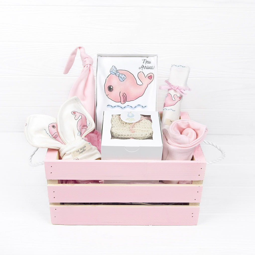 Organic Baby Girl Gift Basket, Whale Clothes, Nautical Baby Shower Gift, Pink Whale Baby Clothes, I've Arrived, Corporate Baby Gifts