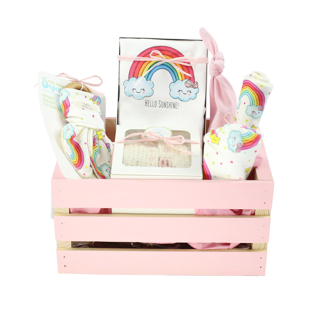 Organic Coming Home Baby Gift Basket Baby Girl Rainbow Theme