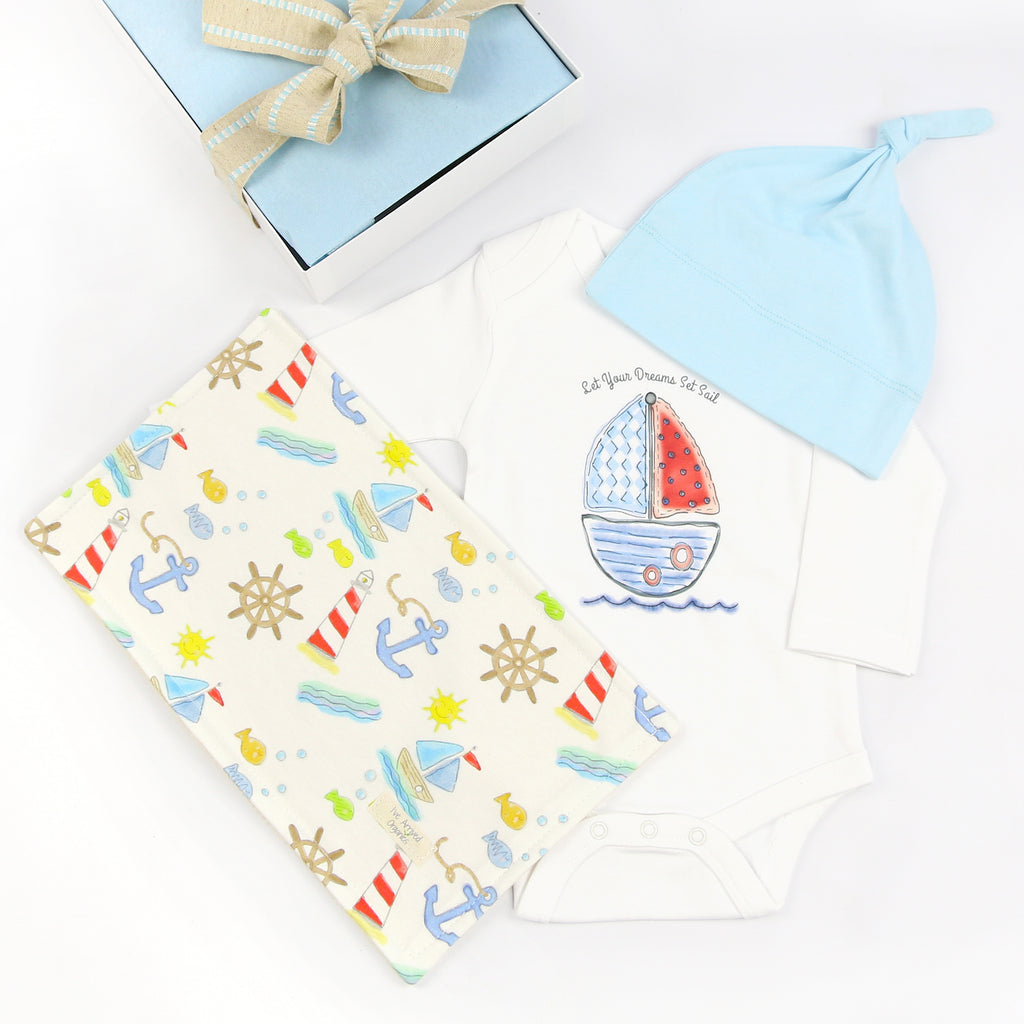 Organic Coming Home Baby Gift Box Baby Boy Sailboat Let Your Dreams Set Sail Theme