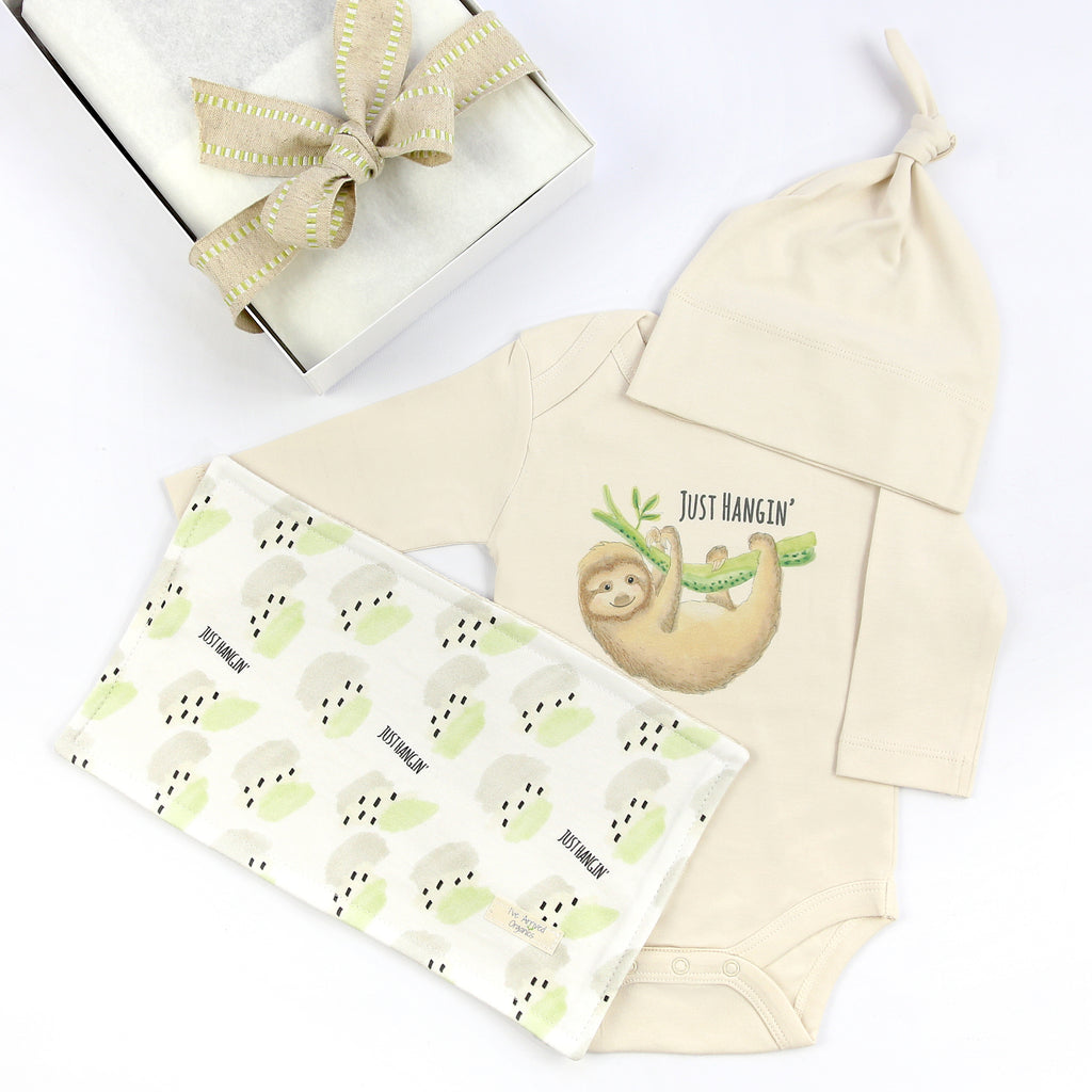 Organic Coming Home Baby Gift Box Baby Gender Neutral Sloth Just Hangin' Theme