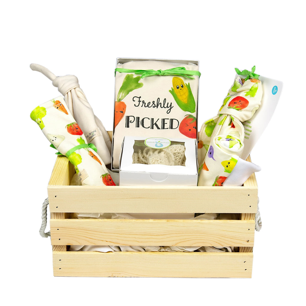 Organic Baby Gift Basket, Baby Gender Neutral Gift, Veggies Baby Clothes, Unisex Baby Basket