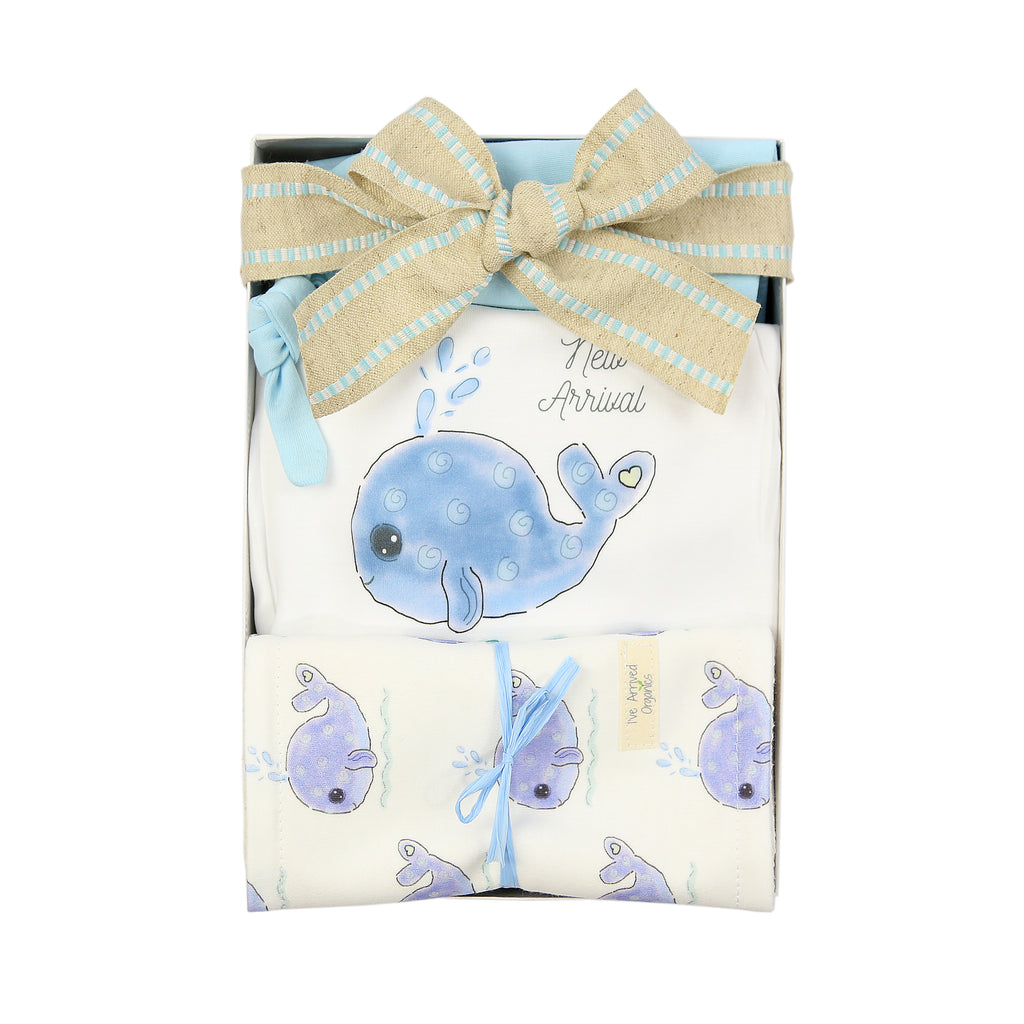 Organic Coming Home Baby Gift Box Baby Boy Whale I've Arrived Theme