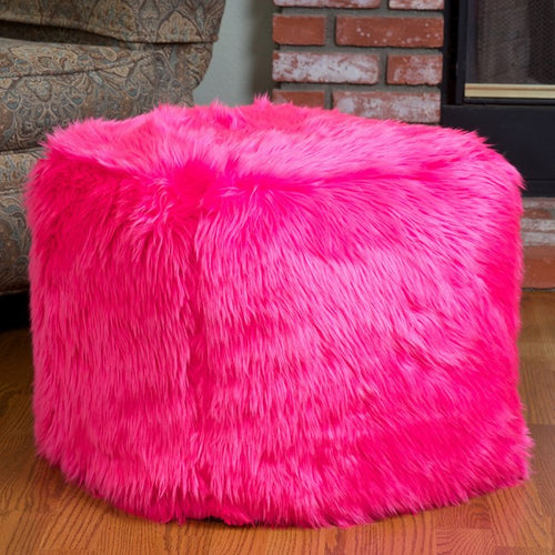 Skyler Hot Pink Faux Fur Cube Accent Pouf