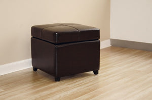 Manlio Dark Brown Square Leather Storage Ottoman