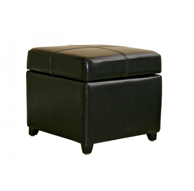 Manlio Black Square Leather Storage Ottoman