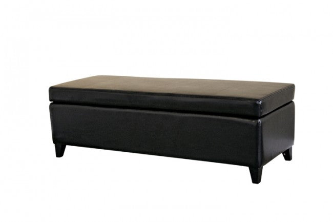 Albertine Black Rectangle Leather Storage Ottoman