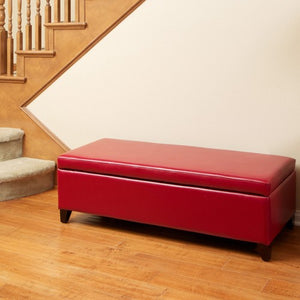 York Red Leather Storage Ottoman Bench