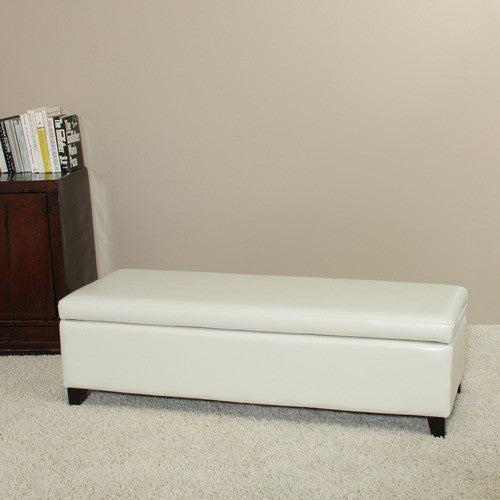 York Cream Leather Storage Ottoman Bench