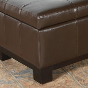 Vinton Brown Tufted Leather Storage Ottoman Bench