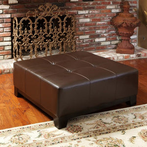 Darlington Chocolate Brown Leather Cocktail Ottoman