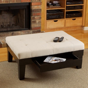Chatham Ivory Linen Storage Cocktail Ottoman