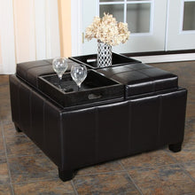 Mason Leather Espresso Tray Top Storage Ottoman